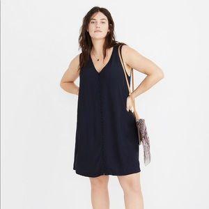 Madewell Heather Button-Front Dress Black XXL